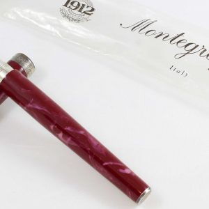 Montegrappa Z300 Red Marble Fountain Pen Sterling Silver 925 trim & holder